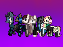 Size: 2048x1536 | Tagged: safe, artist:lightningbolt39, oc, oc only, oc:cheery candy, oc:cut crease, oc:ember arrow, oc:goth mocha, oc:sidewinder, oc:tough cookie (ice1517), earth pony, lamia, original species, pegasus, pony, snake, snake pony, unicorn, anklet, armor, bone, boots, bow, bracelet, cheerycookie, choker, clothes, clothes swap, colored sclera, ear piercing, earring, fans, fedora, female, flats, freckles, gloves, gradient background, hair bow, hat, hoodie, jacket, jewelry, leather jacket, lesbian, lip piercing, lipstick, makeup, mare, multicolored hair, oc x oc, pants, piercing, rainbow hair, rainbow socks, shipping, shirt, shoes, skirt, skull, socks, stockings, striped socks, sweater, t-shirt, thigh highs, wall of tags, wristband