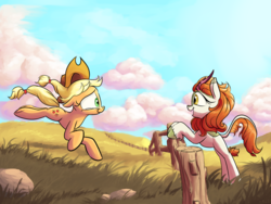 Size: 2400x1800 | Tagged: safe, artist:rocket-lawnchair, applejack, autumn blaze, earth pony, kirin, pony, applejack's hat, awwtumn blaze, cloud, cowboy hat, crying, cute, duo, duo female, female, fence, field, hat, jackabetes, mare, quadrupedal, running, scenery, smiling, tears of joy