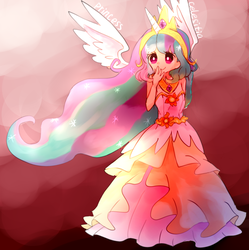 Size: 1195x1200 | Tagged: artist:sea, clothes, crown, cute, cutelestia, dress, female, horn, horned humanization, human, humanized, jewelry, pixiv, princess celestia, regalia, safe, solo, winged humanization, wings