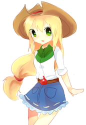 Size: 820x1189 | Tagged: applejack, applejack's hat, artist:sea, belt, clothes, cowboy hat, cute, denim skirt, equestria girls, female, hat, human, human coloration, humanized, jackabetes, miniskirt, moe, open mouth, pixiv, safe, skirt, solo, stetson