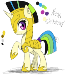 Size: 841x950 | Tagged: armor, artist:didun850, helmet, hoof shoes, oc, oc:neon shadow, oc only, pony, raised hoof, reference sheet, royal guard, safe, unicorn