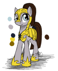 Size: 336x416 | Tagged: armor, artist:didun850, earth pony, helmet, hoof shoes, oc, oc:highboots crack, oc only, pony, reference sheet, royal guard, safe, solo