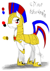 Size: 985x1385 | Tagged: armor, artist:didun850, earth pony, helmet, hoof shoes, male, oc, oc only, oc:silver bloodrain, pony, raised hoof, reference sheet, royal guard, safe, solo, stallion