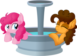 Size: 1024x754 | Tagged: absurd resolution, artist:cyanlightning, cheesepie, cheese sandwich, date, ear fluff, earth pony, female, fountain, male, mare, missing accessory, pinkie pie, pony, safe, shipping, simple background, smiling, stallion, straight, .svg available, transparent background, vector