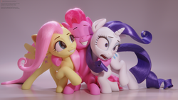 Size: 3840x2160 | Tagged: safe, artist:therealdjthed, fluttershy, pinkie pie, rarity, earth pony, pegasus, pony, unicorn, 3d, 3d model, blender, cute, cycles, cycles render, diapinkes, female, group hug, high res, hug, mare, model:djthed, patreon, patreon logo, simple background, trio, unexpected