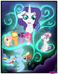Size: 3500x4500 | Tagged: safe, artist:becauseimpink, applejack, fluttershy, pinkie pie, princess luna, rainbow dash, rarity, sweetie belle, twilight sparkle, pony, unicorn, comic:transition, applejack (male), bubble berry, bust, butterscotch, chest fluff, colt, comic, dusk shine, elusive, eyes closed, flying, freckles, glowing horn, grin, hair over one eye, hat, horn, male, mane six, night, prince artemis, rainbow blitz, rule 63, silver bell, smiling, stallion, stars, transgender