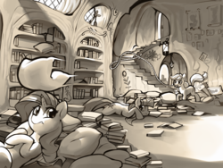 Size: 4000x3000 | Tagged: safe, artist:dimfann, applejack, rarity, twilight sparkle, earth pony, pony, unicorn, series:pony re-watch, look before you sleep, book, digital art, female, golden oaks library, lasso, mare, monochrome, mouth hold, pillow, pillow fight, prone, rope, scene interpretation, unicorn twilight