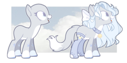 Size: 1024x511 | Tagged: safe, artist:chococolte, oc, earth pony, pony, bald, bell, bell collar, bow, collar, female, hair bow, mare, solo