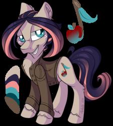 Size: 1200x1335 | Tagged: safe, artist:mychelle, oc, earth pony, pony, clothes, jacket, magical lesbian spawn, male, offspring, parent:applejack, parent:coloratura, parents:rarajack, solo, stallion