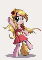 Size: 4617x6517 | Tagged: safe, artist:gsphere, artist:midwestbrony, pony, absurd resolution, bipedal, crown, female, flower, flower in hair, heart eyes, jewelry, mare, nation ponies, ponified, regalia, simple background, solo, standing, standing on one leg, switzerland, wingding eyes