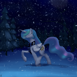 Size: 1080x1080 | Tagged: alicorn, artist:midwestbrony, clothes, eyes closed, female, night, pony, princess celestia, safe, scarf, snow, snowfall, solo, tree