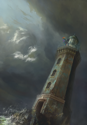 Size: 1190x1700 | Tagged: safe, artist:bra1neater, rainbow dash, pony, cloud, cloudy, fine art emulation, lighthouse, ocean, scenery, solo, spread wings, storm, wings