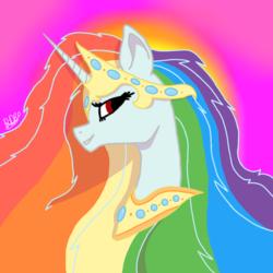 Size: 1000x1000 | Tagged: safe, artist:rainbow dash is best pony, oc, oc only, oc:rainbowrio, alicorn, pony, alicorn oc, crown, head, jewelry, necklace, regalia