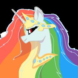 Size: 1000x1000   Tagged: safe, artist:rainbow dash is best pony, oc, oc only, oc:rainbowrio, alicorn, pony, alicorn oc, crown, jewelry, necklace, rainbow hair, regalia, simple background, transparent background