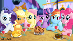 Size: 2560x1440 | Tagged: alcohol, applejack, artist:fadlihalimns, chocolate, date, dating, digital art, donut, earth pony, female, fluttershy, food, glass, lip bite, looking at you, mane six, mare, muffin, pegasus, pinkie pie, pony, rainbow dash, rarity, relaxing, safe, smiling, twilight sparkle, unicorn, wine, wine glass