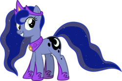 Size: 3201x2128 | Tagged: 2020 community collab, artist:lightning stripe, blue coat, blue mane, crown, cutie mark, derpibooru community collaboration, derpibooru exclusive, earth pony, ethereal mane, eyelashes, fangs, female, green eyes, grin, jewelry, mare, not luna, oc, oc only, oc:princessmoonlight, pony, regalia, safe, show accurate, simple background, smiling, solo, transparent background, vector