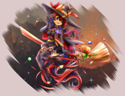 Size: 5341x4092 | Tagged: safe, artist:nemu majo, oc, oc only, oc:sweet voltage, anthro, unguligrade anthro, unicorn, anthro oc, belly button, broom, candy, clothes, ear piercing, earring, flying, flying broomstick, food, halloween, hat, holiday, jewelry, looking at you, midriff, piercing, pumpkin, skirt, solo, waving, witch costume, witch hat