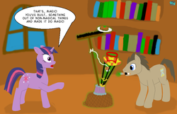 Size: 700x450 | Tagged: artist:quint-t-w, dialogue, doctor who, doctor whooves, earth pony, library, magic, old art, parody, pony, safe, shocked, shocked expression, sonic screwdriver, time turner, twilight sparkle, unicorn