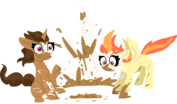 Size: 1187x698 | Tagged: artist:nootaz, cake, duo, female, food, mare, oc, oc:buttercup shake, oc:carrot spring, pegasus, pony, safe, simple background, sitting, splatter, surprised, transparent background, unicorn