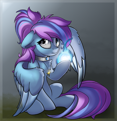 Size: 2615x2704   Tagged: safe, artist:rexyseven, oc, oc only, oc:midnight music, pegasus, pony, female, magic, mare, solo, transparent wings, wings