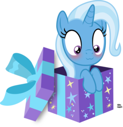 Size: 1559x1602 | Tagged: :3, artist:anime-equestria, blushing, bow, box, cute, daaaaaaaaaaaw, diatrixes, female, happy, mare, pony, pony in a box, present, safe, simple background, smiling, solo, transparent background, trixie, unicorn, vector
