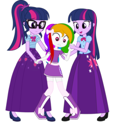Size: 856x933 | Tagged: alternate universe, artist:cartoonmasterv3, boots, clothes, equestria girls, long skirt, miniskirt, oc, oc:shining star, safe, sci-twi, shoes, skirt, socks, thigh highs, twilight sparkle, twilight sparkle (alicorn), vector