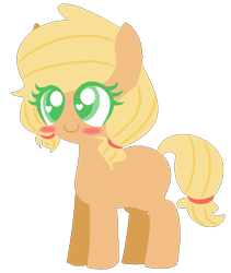 Size: 512x606 | Tagged: safe, artist:l-ittleapple, applejack, earth pony, pony, alternate hairstyle, blank flank, blush sticker, blushing, colored pupils, cute, female, filly, filly applejack, heart eyes, jackabetes, pigtails, simple background, solo, transparent background, wingding eyes, younger