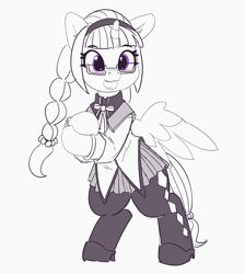 Size: 4929x5508 | Tagged: safe, artist:pabbley, twilight sparkle, alicorn, pony, bipedal, bow, braided ponytail, clothes, costume, cute, female, glasses, homura akemi, leggings, magical girl, mare, monochrome, neo noir, open mouth, pantyhose, partial color, ponytail, puella magi madoka magica, ribbon, shoes, skirt, smiling, solo, twiabetes, twilight sparkle (alicorn)