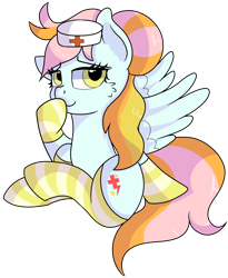 Size: 1280x1560 | Tagged: safe, artist:rainbowtashie, lightning dust, nurse redheart, oc, oc only, oc:instant care, earth pony, pegasus, pony, adorable face, clothes, commissioner:bigonionbean, cute, cutie mark, fusion, fusion:instant care, hairbun, hat, nurse hat, simple background, socks, solo, striped socks, sultry pose, thick, transparent background, wings extended, writer:bigonionbean