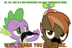 Size: 646x437 | Tagged: safe, artist:lahirien, artist:vigorousjammer, edit, edited edit, editor:undeadponysoldier, button mash, spike, dragon, earth pony, pony, british, colt, compliment, duo, facial hair, hat, male, moustache, propeller hat, simple background, white background