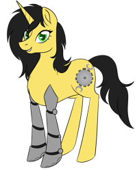 Size: 947x1200 | Tagged: safe, artist:puddingskinmcgee, derpibooru exclusive, oc, oc only, oc:gadget steelmare, pony, unicorn, 2020 community collab, derpibooru community collaboration, amputee, female, prosthetic limb, prosthetics, simple background, solo, standing, transparent background