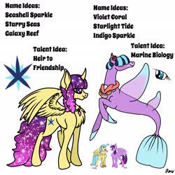 Size: 2048x2048   Tagged: safe, artist:rmv-art, princess skystar, twilight sparkle, oc, oc:galaxy reef, oc:violet coral, alicorn, hippogriff, pony, seapony (g4), my little pony: the movie, spoiler:my little pony movie, offspring, parent:princess skystar, parent:twilight sparkle, parents:twistar, twilight sparkle (alicorn), twistar