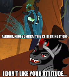 Size: 1280x1440 | Tagged: safe, edit, edited screencap, screencap, king sombra, queen chrysalis, changeling, changeling queen, pony, unicorn, the beginning of the end, spoiler:s09e01, spoiler:s09e02, caption, curved horn, female, image macro, jewelry, male, meme, text