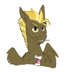 Size: 691x735   Tagged: safe, artist:phobicalbino, oc, oc only, oc:zipperflash, pegasus, pony, cigarette, coffee cup, cup, male, next generation, offspring, parent:lightning dust, parent:thunderlane, parents:thunderdust, simple background, stallion, white background