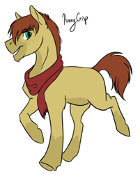 Size: 514x639   Tagged: safe, artist:phobicalbino, oc, oc only, oc:honey crisp, earth pony, pony, clothes, magical lesbian spawn, male, offspring, parent:applejack, parent:fluttershy, parents:appleshy, scarf, simple background, solo, stallion, trotting, white background