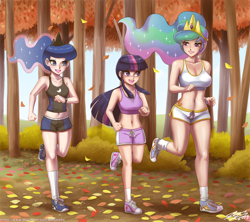 Size: 1500x1331 | Tagged: safe, artist:johnjoseco, princess celestia, princess luna, twilight sparkle, human, autumn, belly button, breasts, busty princess celestia, busty princess luna, busty twilight sparkle, cleavage, clothes, converse, forest, humanized, jogging, leaves, legs, midriff, running, running of the leaves, shoes, shorts, sneakers, socks, sports bra, sports shorts, tallestia, tanktop, tree, trio