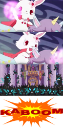 Size: 853x1728 | Tagged: safe, artist:mega-poneo, edit, edited screencap, screencap, alicorn, changeling, pony, rabbit, a canterlot wedding, animal, cape, clothes, comic, crossover, explosion, jewelpet, magic, mega poneo strikes again, opal (jewelpet), ruby (jewelpet), screencap comic