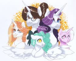 Size: 3467x2792 | Tagged: safe, artist:frozensoulpony, rarity, raven, oc, oc:jade luck, oc:systole, oc:ti' cheval, pegasus, pony, unicorn, adopted offspring, bust, female, magical lesbian spawn, mare, offspring, parent:moonlight raven, parent:prince blueblood, parent:rarity, parent:raven, parents:rariraven, parents:ravenblood, portrait, traditional art