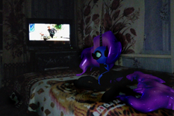 Size: 1920x1280 | Tagged: safe, artist:feuerrader-nmm, nightmare moon, pony, 3d, irl, photo, ponies in real life, prone, solo, television