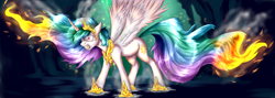 Size: 3368x1200 | Tagged: safe, artist:not-ordinary-pony, daybreaker, princess celestia, alicorn, pony, angry, burning, commission, featured image, female, furious, fury, gritted teeth, jewelry, mane of fire, mane on fire, mare, melting, ragelestia, regalia, run for your lives, sin of wrath, solo, spread wings, tail of fire, this will end in daybreaker, this will end in death, this will end in tears, this will end in tears and/or death, wings, you dun goofed