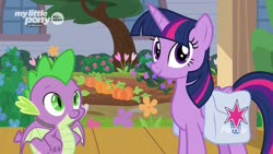 Size: 1920x1080 | Tagged: safe, screencap, spike, twilight sparkle, alicorn, dragon, pony, the point of no return, spoiler:s09e05, flower, pumpkin, saddle bag, twilight sparkle (alicorn), winged spike