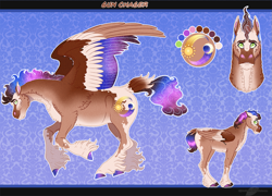 Size: 1399x1007 | Tagged: safe, artist:bijutsuyoukai, oc, oc:sun chaser, pegasus, pony, colored wings, male, multicolored wings, offspring, parent:princess celestia, parent:troubleshoes clyde, reference sheet, stallion, unshorn fetlocks, wings