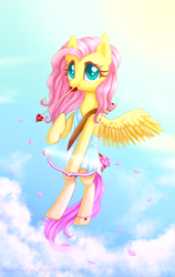 Size: 1200x1900 | Tagged: safe, artist:0okami-0ni, fluttershy, bow (weapon), clothes, cloud, cloudy, cupid, cute, dress, flying, shyabetes, sky, solo