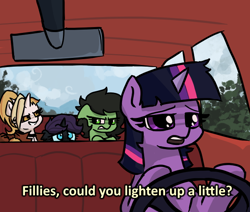 Size: 600x509 | Tagged: safe, artist:plunger, twilight sparkle, oc, oc:dyx, oc:filly anon, oc:nyx, alicorn, earth pony, pony, unicorn, /mlp/, 4chan, angry, car, car ride, drawthread, female, filly, meme, ponified, ponified meme, text, the simpsons
