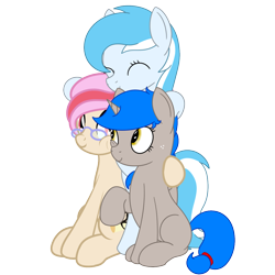Size: 1200x1200   Tagged: safe, artist:nitei, artist:spritepony, oc, oc only, oc:snow frost, oc:sprite, oc:understudy, alicorn, earth pony, pony, 2020 community collab, derpibooru community collaboration, alicorn oc, bipedal, collaboration, cuddling, cute, earth pony oc, female, group, lesbian, present, shipping, simple background, sitting, standing, transparent background