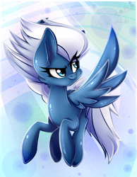 Size: 836x1080 | Tagged: safe, artist:bloody-pink, night glider, pegasus, pony, abstract background, female, flying, mare, smiling, solo, spread wings, wings