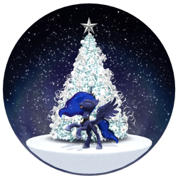 Size: 1920x1920 | Tagged: safe, artist:feuerrader-nmm, princess luna, alicorn, pony, 3d, christmas, christmas tree, eyes closed, female, happy, holiday, mare, rearing, simple background, snow globe, solo, transparent background, tree