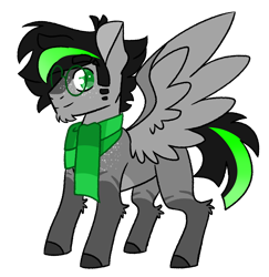 Size: 3470x3573   Tagged: safe, artist:crazysketch101, oc, oc only, oc:unit, pegasus, clothes, glasses, redesign, scarf, simple background, solo, transparent background