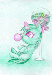 Size: 1400x2000   Tagged: safe, artist:0okami-0ni, minty, female, filly, huevember, solo, traditional art