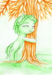 Size: 1400x2000   Tagged: safe, artist:0okami-0ni, tree hugger, female, filly, huevember, solo, traditional art, tree